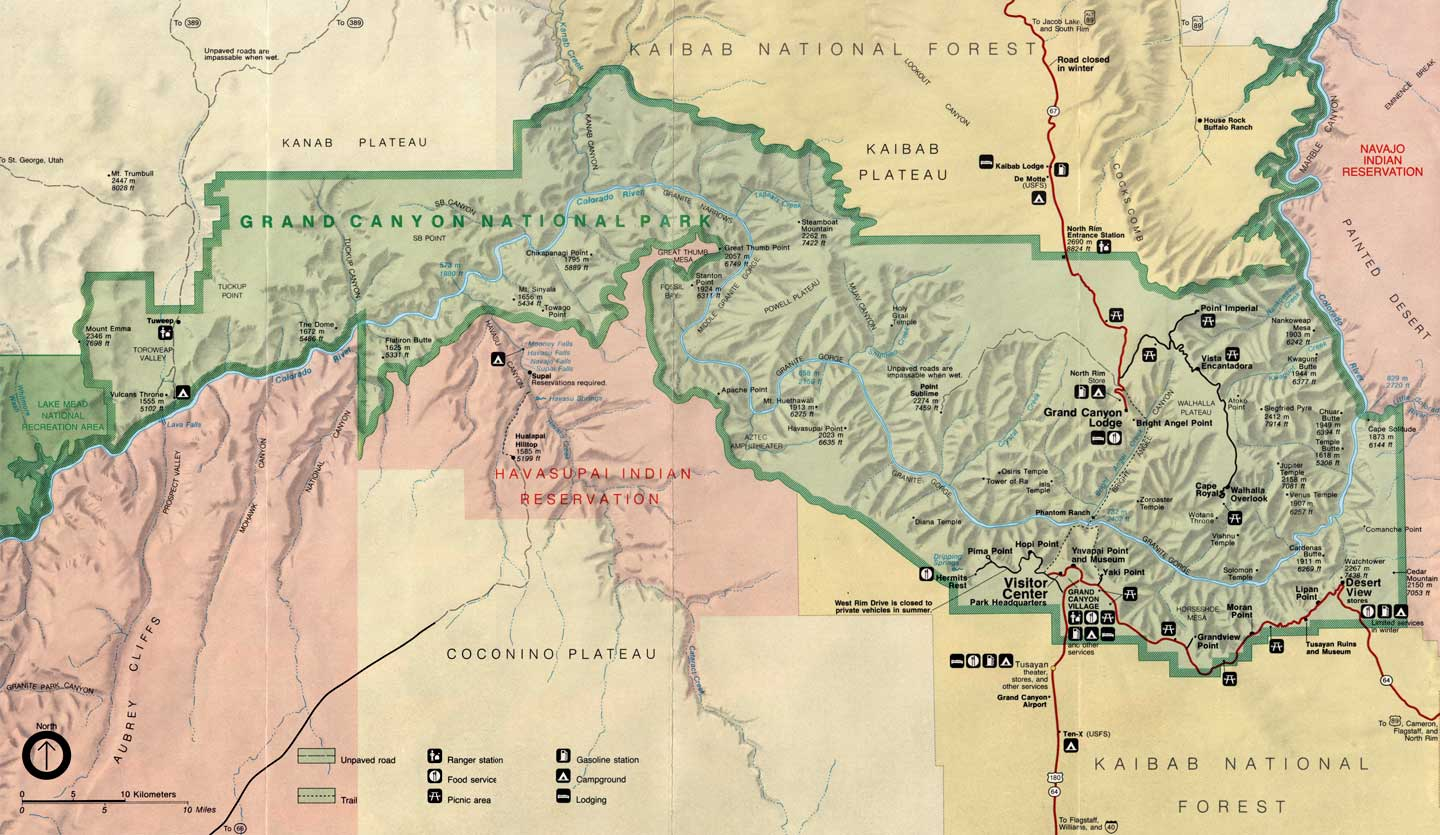 grand canyon np map Grand Canyon National Park Maps grand canyon np map