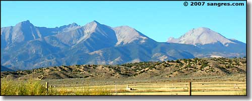 Looking across Fort Garland, Colorado at the Blanca Massif and Mt. Lindsey