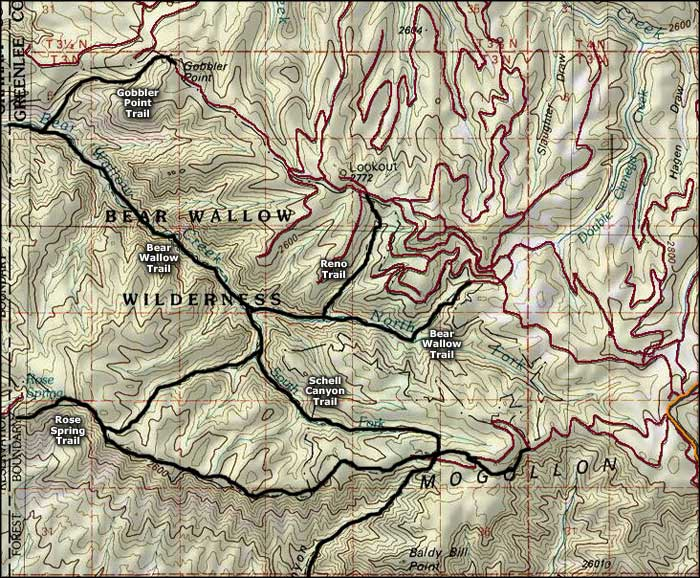 Bear Wallow Wilderness map