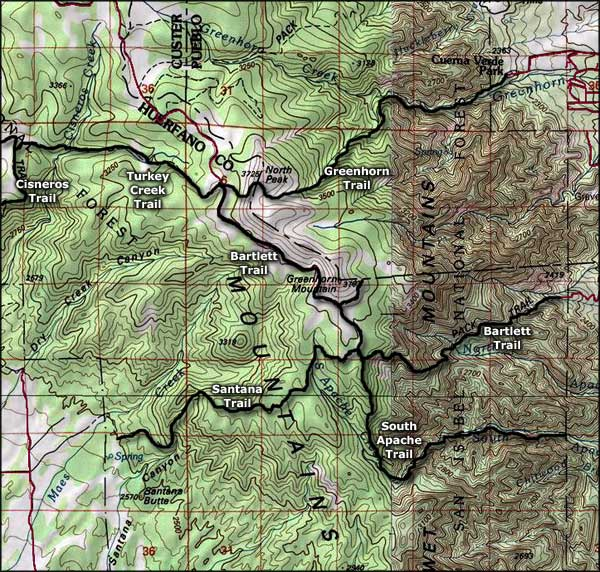 Greenhorn Mountain area map