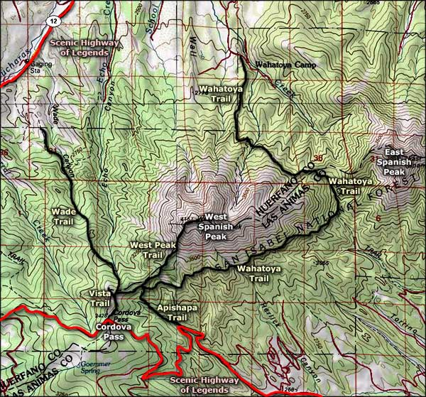 Spanish Peaks area topo map