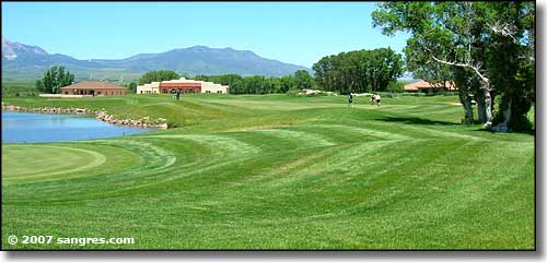 Looking across Grandote Golf Course at the Spanish Peaks