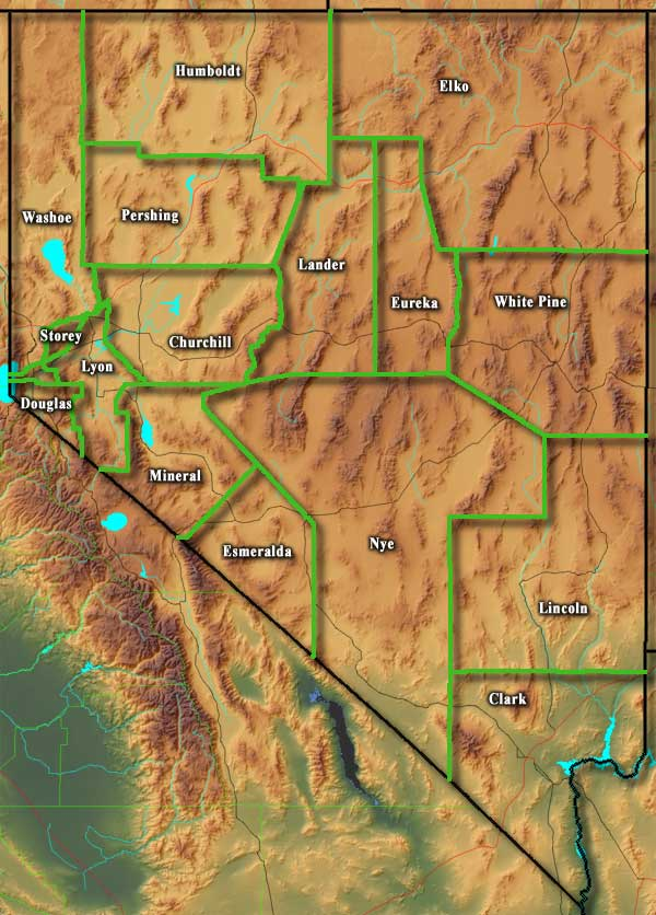Nevada map showing county boundaries and names
