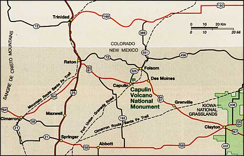 Map to Capulin Volcano National Monument, New Mexico