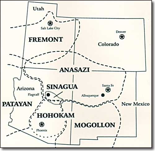map of the Southwestern States showing the areas of ancient Native American peoples