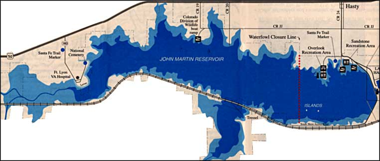 map of John Martin Reservoir State Park