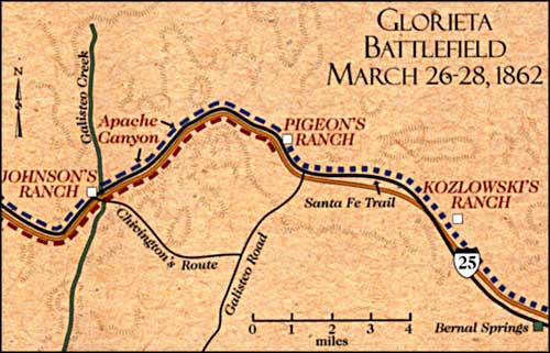 map of the Glorieta Battlefield