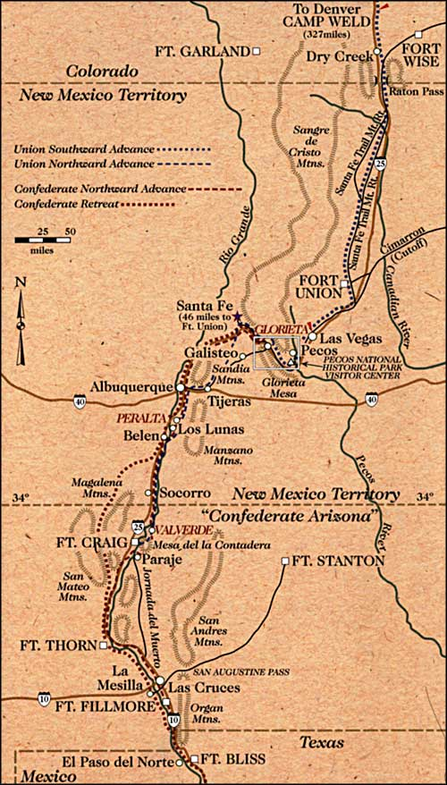 map showing the locations of Civil War skirmishes in New Mexico