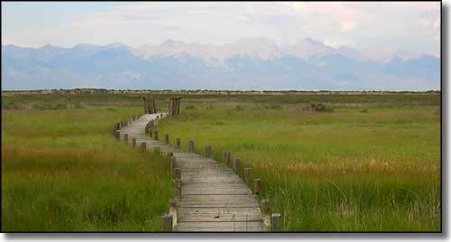 wooden boardwalk with the Sangre de Cristo's in the background