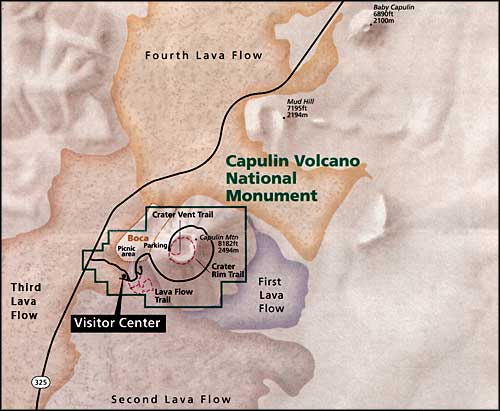 Map showing mountain and lava flows