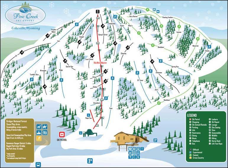 wyoming ski resorts map Pine Creek Ski Resort wyoming ski resorts map