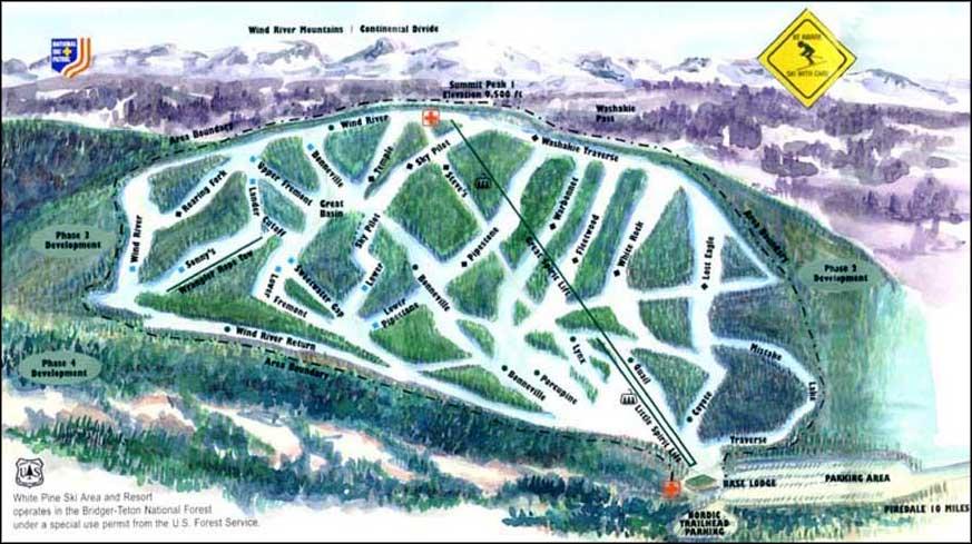 Ski Areas In Wyoming Map.White Pine Ski Resort