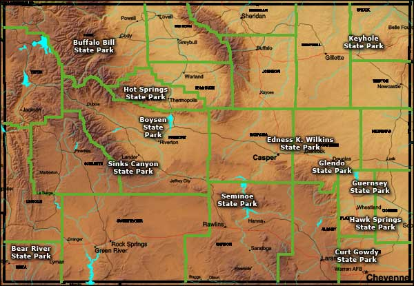Map showing the locations of Wyoming's State Parks