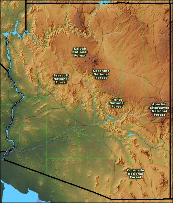 Map showing locations of the National Forests in Arizona