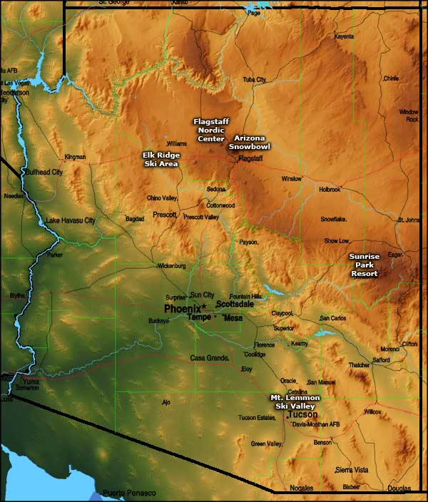 Arizona Ski Areas Map
