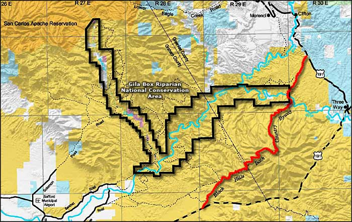 BLM map of the Gila Box Riparian National Conservation Area