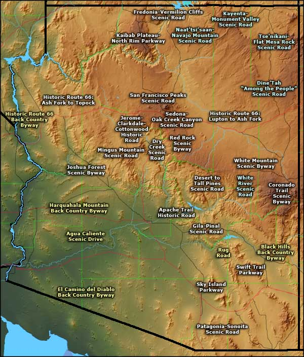 Map Of Arizona Historical Sites.Scenic And Historic Byways In Arizona