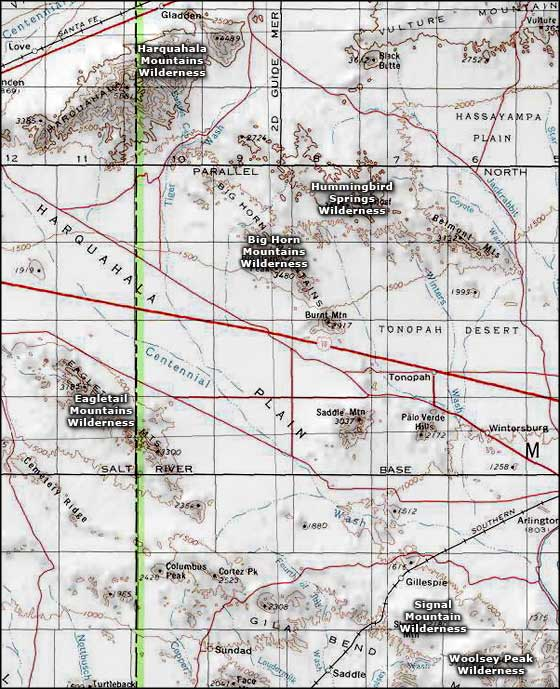 Hummingbird Springs Wilderness area map