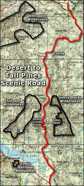 Desert to Tall Pines Scenic Road area map