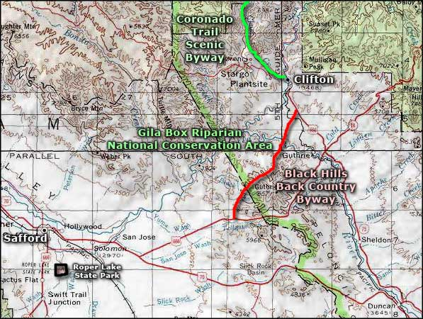 Gila Box Riparian National Conservation Area area map