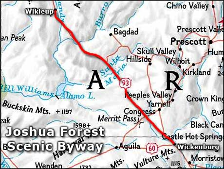 Joshua Forest Scenic Byway location map