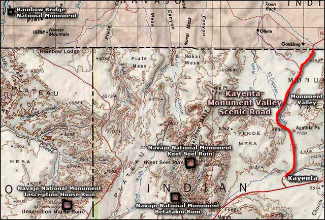 Kayenta-Monument Valley Scenic Road area map