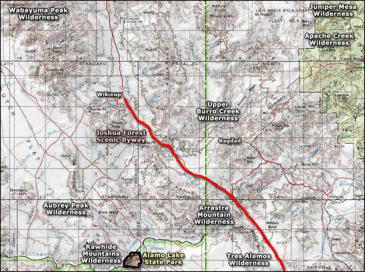 Joshua Forest Scenic Byway area map