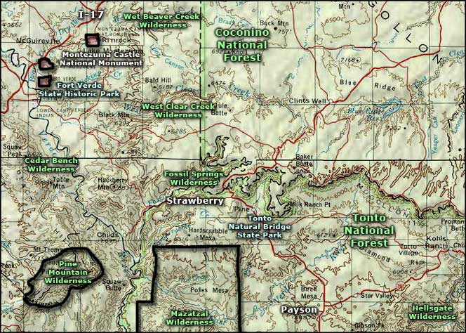 West Clear Creek Wilderness area map