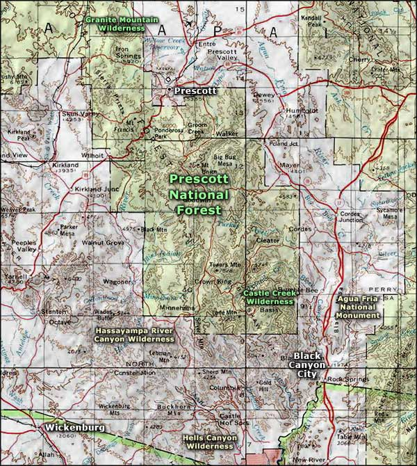 Hassayampa River Canyon Wilderness area map