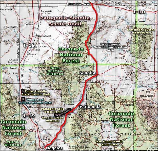 Sonoita Creek State Preserve area map