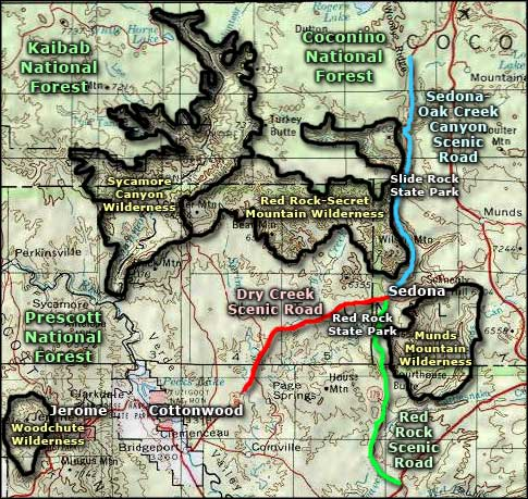Sycamore Canyon Wilderness area map
