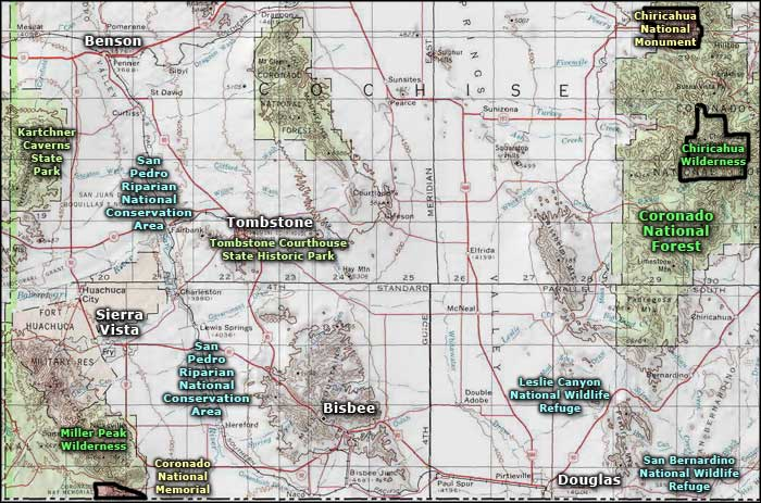 San Pedro Riparian National Conservation Area map