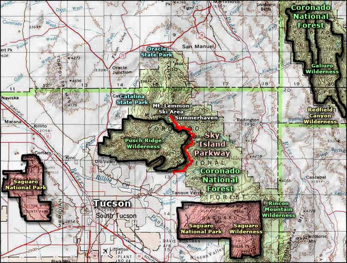 Saguaro National Park area map