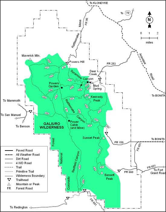 Galiuro Wilderness map