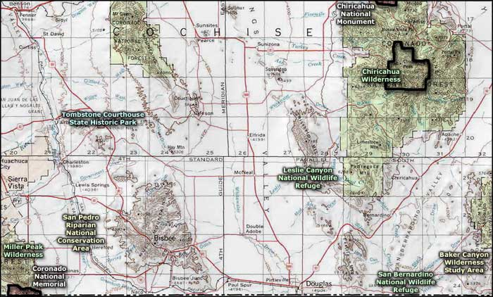 Chiricahua National Monument area map