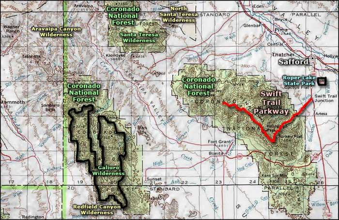 Galiuro Wilderness area map