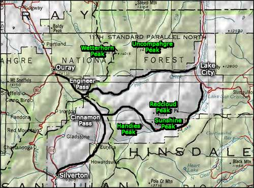 Alpine Loop Scenic Byway map
