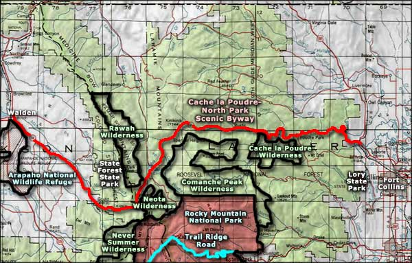 Rawah Wilderness area map
