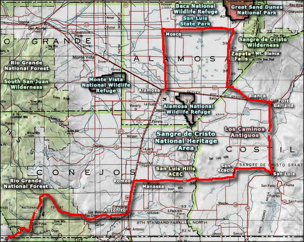 Los Caminos Antiguos Scenic and Historic Byway map
