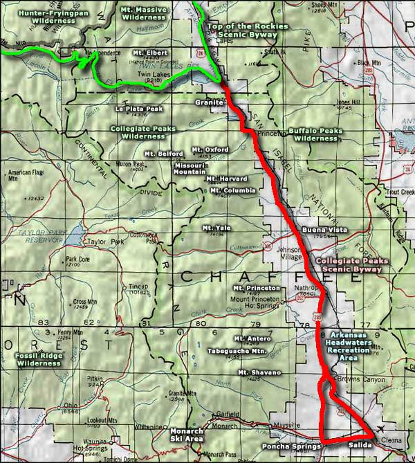 Buffalo Peaks Wilderness area map