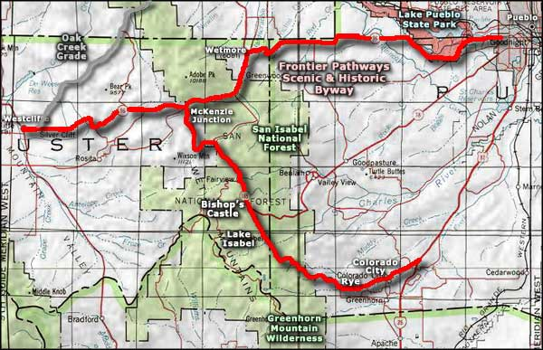 Frontier Pathways Scenic and Historic Byway area map