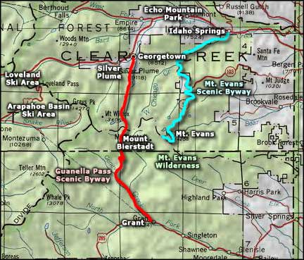 Mt. Evans Scenic Byway area map