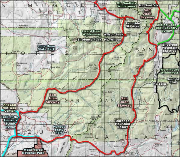 Mancos State Park area map
