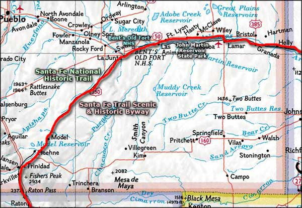 Santa Fe Trail Scenic and Historic Byway map