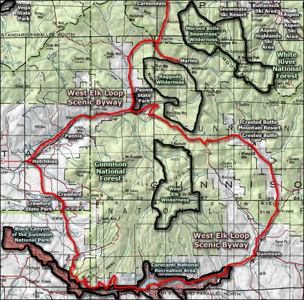 West Elk Loop Byway area map