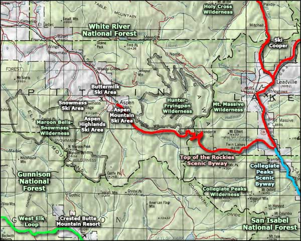 Maroon Bells-Snowmass Wilderness area map