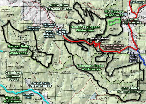 Hunter-Fryingpan Wilderness area map
