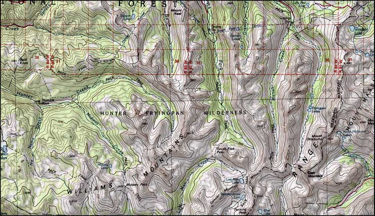Hunter-Fryingpan Wilderness map