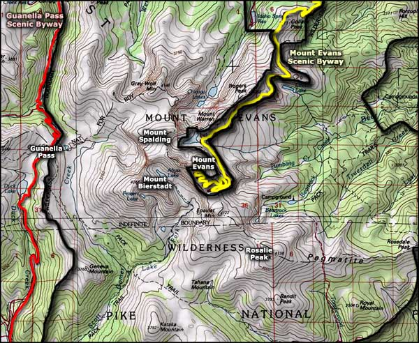 Mount Evans Wilderness map