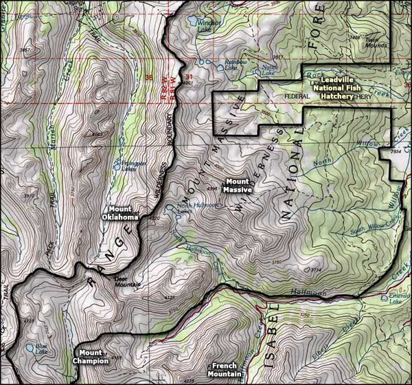 Mt. Massive Wilderness area map